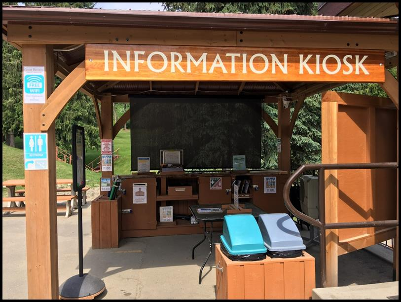 Our kiosk with the new sunshade.