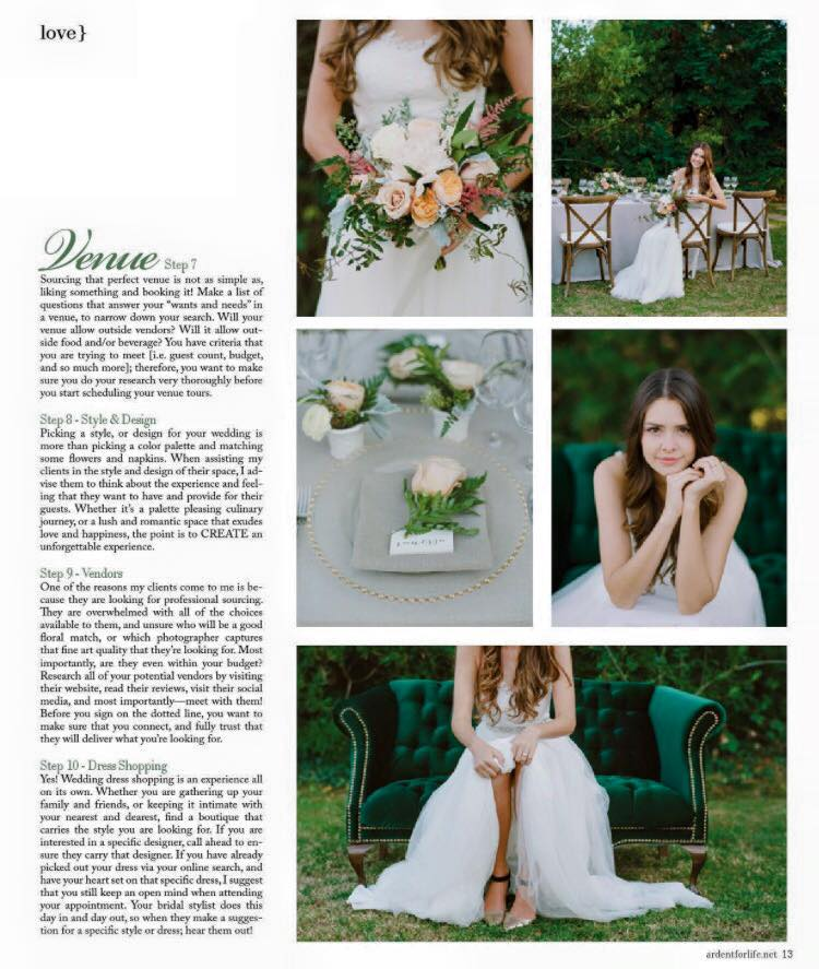 San Fransisco Wedding Planner - Feature in Ardent Magazine