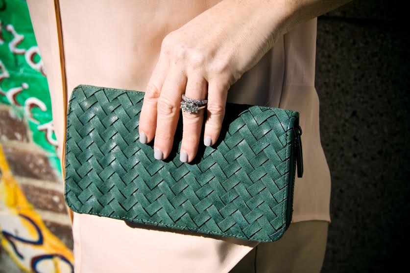 Complete the look with a statement  Mint Julep  clutch.