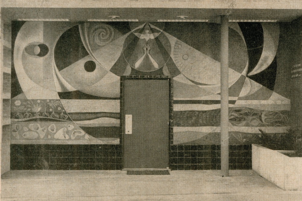 "Creation , Seymour Fogel, ethyl silicate mural.                                                      Source | Ralph M. Pearson, ""Modern Art in a Texas Church,""  The Art Digest  24 (October 15, 1950): 14."