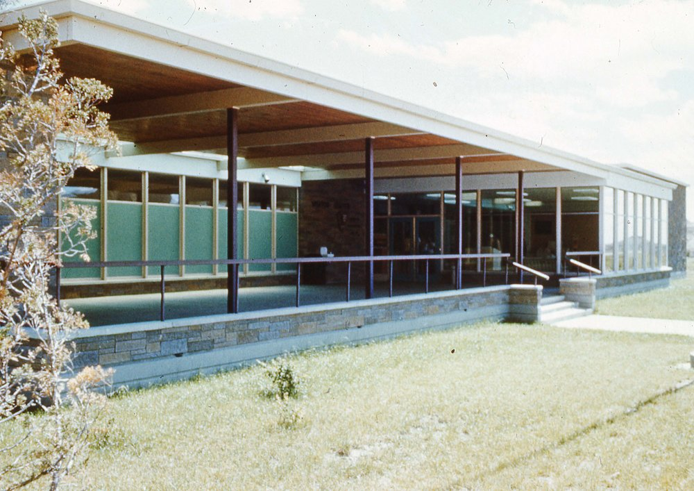Visitor center c. 1960 illustrating porch which looks out to Badlands Wall to the north.