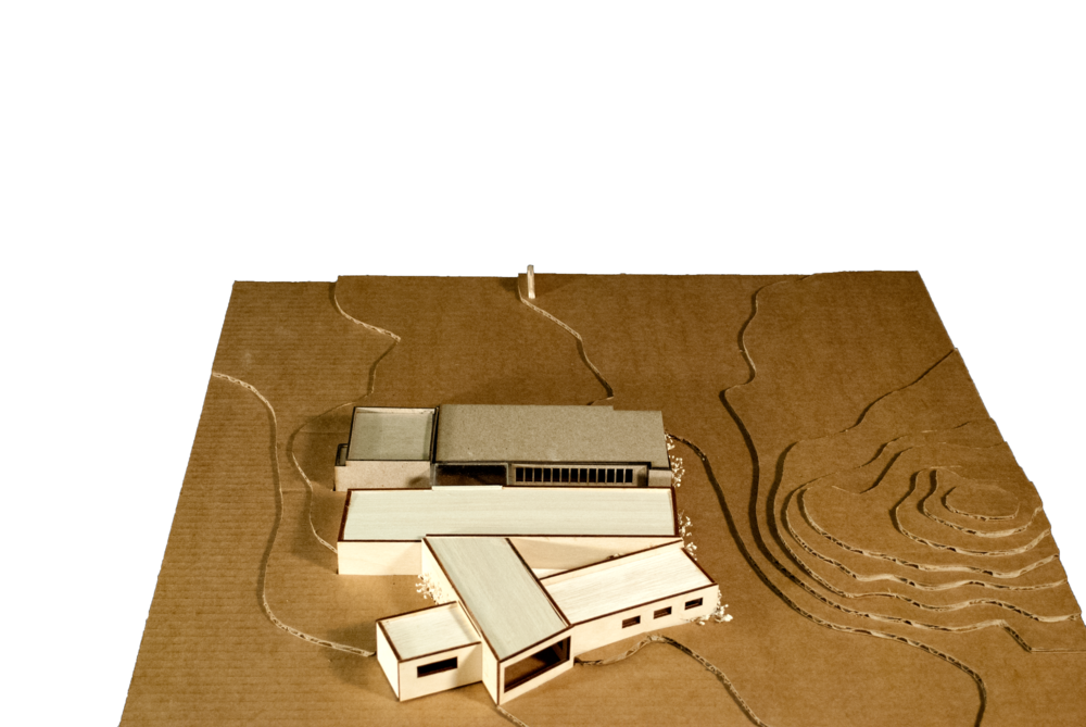 Model of proposed contemporary addition to rehabilitated Visitor Center.