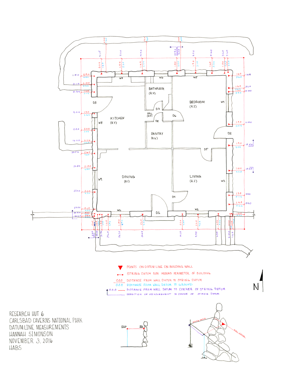 Due to the irregular, non-orthogonal reality of the building construction and the varied topography, we established a datum line and took measurements around the building for reference in measured drawings. Pen on paper.
