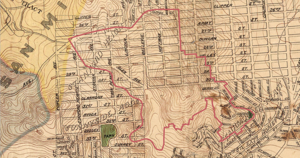 1899 San Francisco Sewer System and Topography Map, indicating the steep hills of Diamond Heights and the gridiron paper streets. [David Rumsey Map Collection; cropped and annotated by Hannah Simonson.]