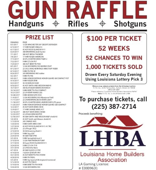 Lhba 2017 Gun Raffle Ticket — Louisiana Home Builders Association