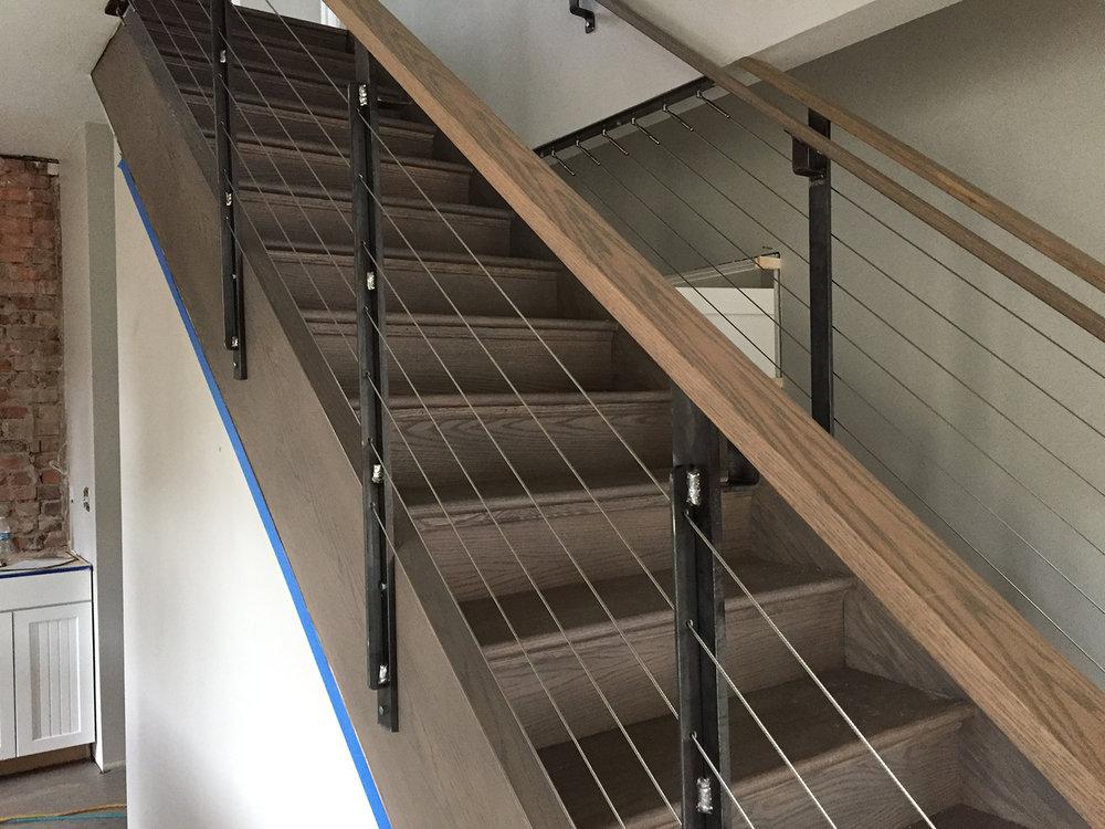 Cable, Steel Posts, Oak Handrail