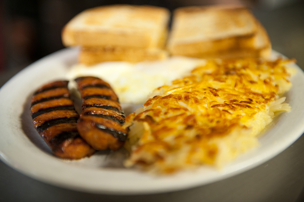 Breakfast: Linguiça, Hash Browns, Eggs and Toast