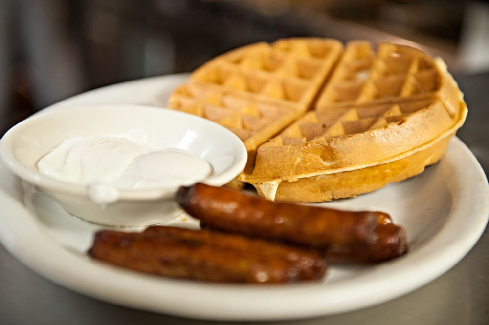 Breakfast: Eggs, Sausages and Waffle