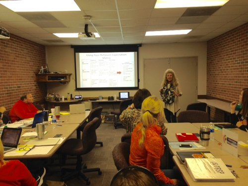 Debbie Williams, West Tennessee Behavior Supports Project Tier 1 lead trainer, works with Dyer County middle schools