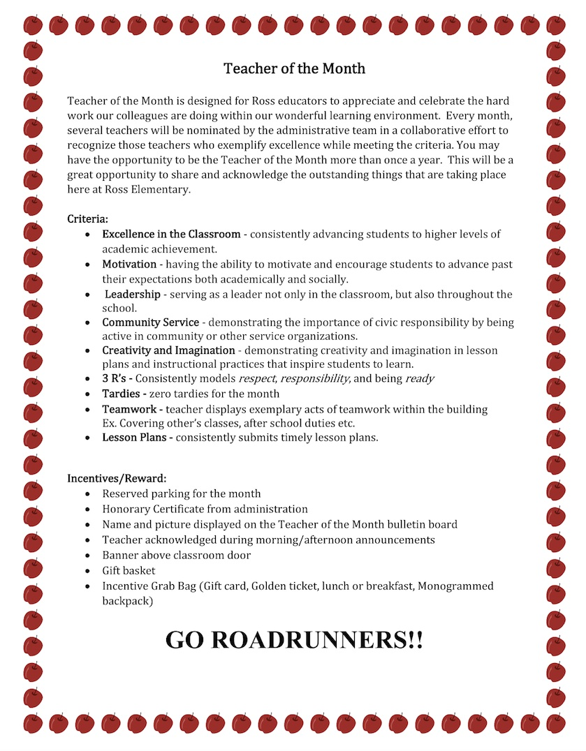 Ross Elementary's flyer for the Teacher of the Month program.