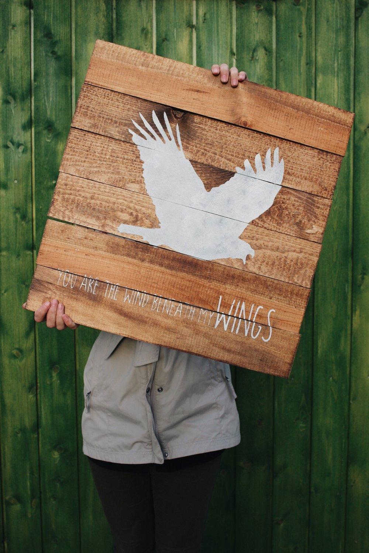Eco Flower - Wind Beneath My Wings Pallet Wood Sign