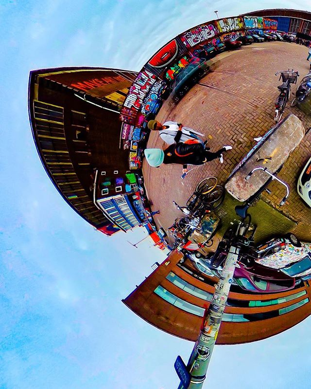 Saturated. . . . . . #amsterdam #NDSM #tinyplanet #360 #ricohtheta #graffiti