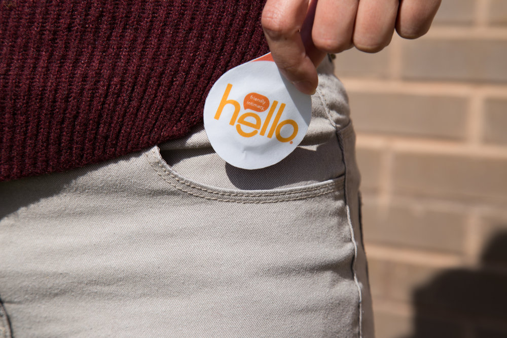 Hello Condom (actual size).