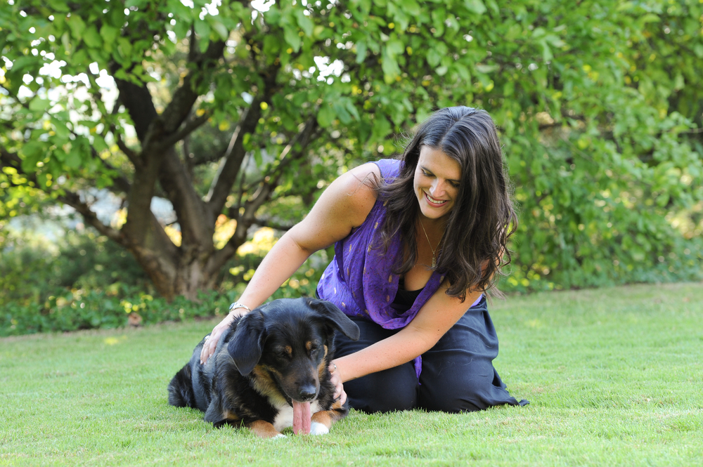 Animal Communicator Michelle Hawk Levesque offering Reiki healing energy to a dog in Portland, OR