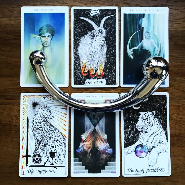 The Magician, The High Priestess and The Devil from The Fountain Tarot and The Wild Unknown (Plus, an njoy Pure Wand)
