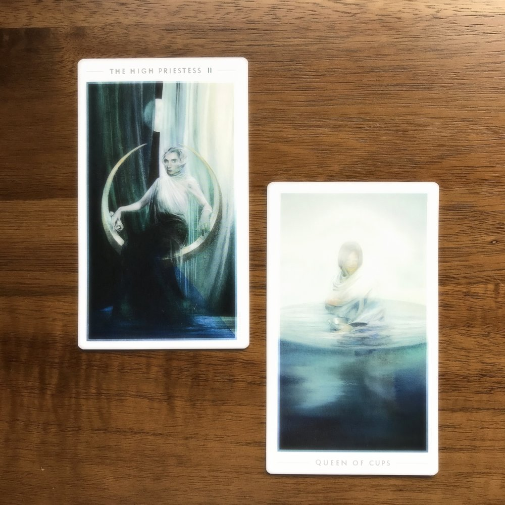 The High Priestess and The Queen of Cups ask us to listen deeply in The Fountain Tarot.