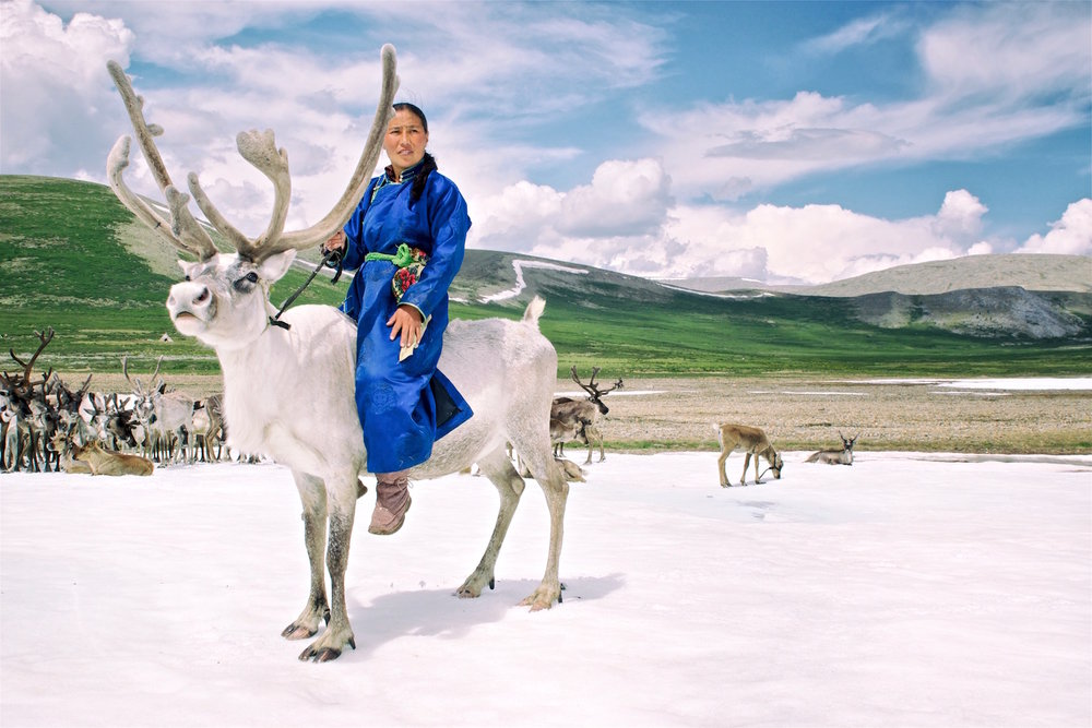 Tsaatan with reindeer by Khasar Sandag