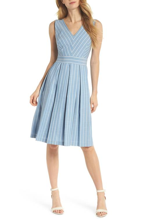 Samantha Slub Stripe Fit & Flare Dress