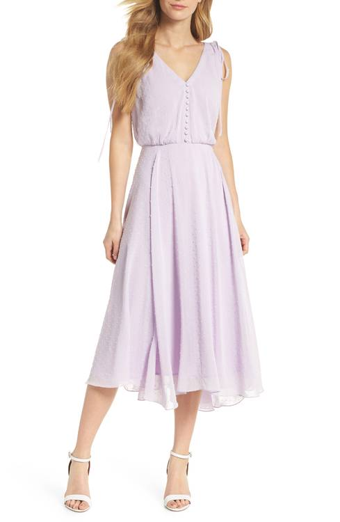 Hillary Clip Dot Chiffon Midi Dress