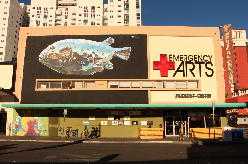 Emergency Arts. The exterior of the building on Fremon