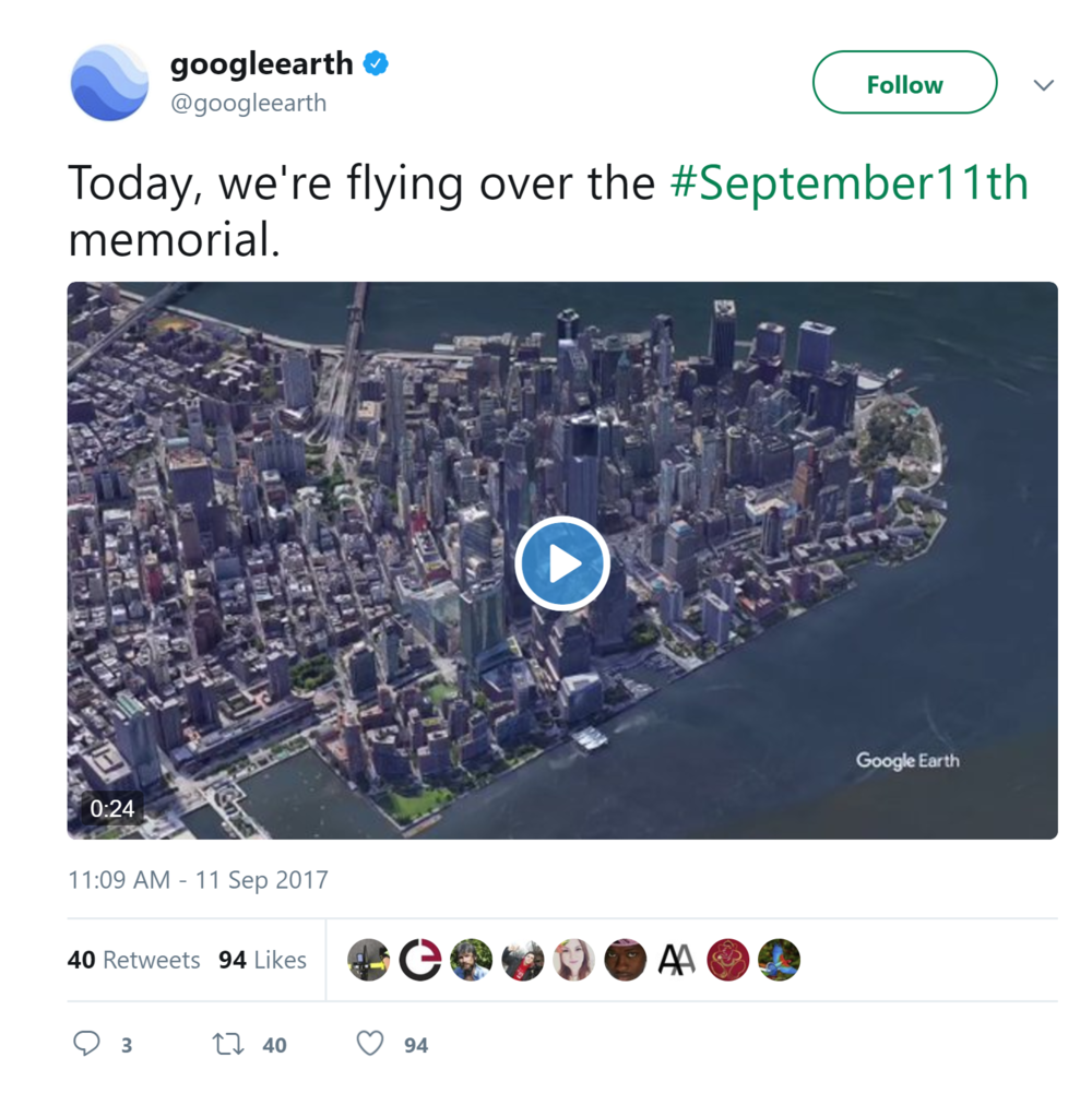 Google Earth Post production 9/11 Memorial Drone