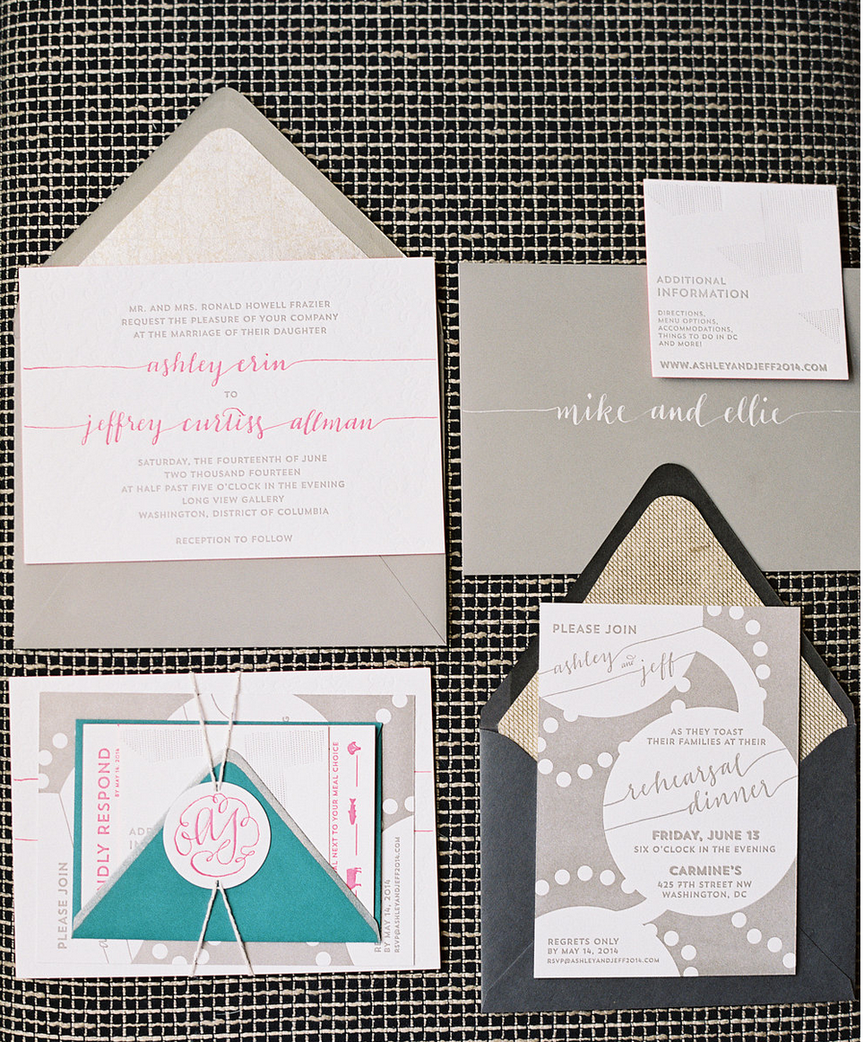 Style me Pretty AShley & Jeff's Wedding Invitations and Day-of Materials