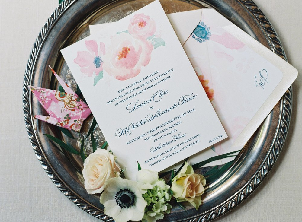 Watercolor Bouquet Invitation Suite