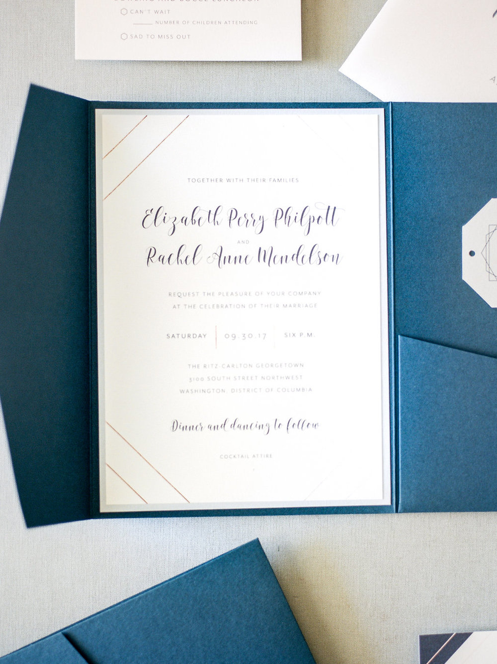 Geometric Navy Invitation Suite