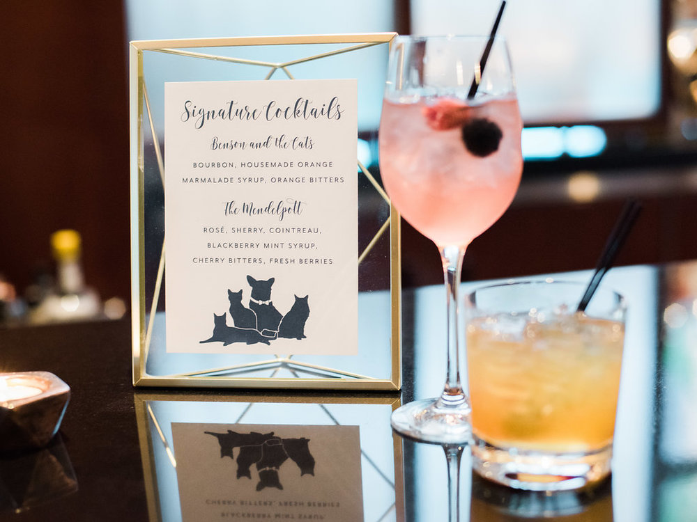 Geometric Navy Suite Signature Cocktails