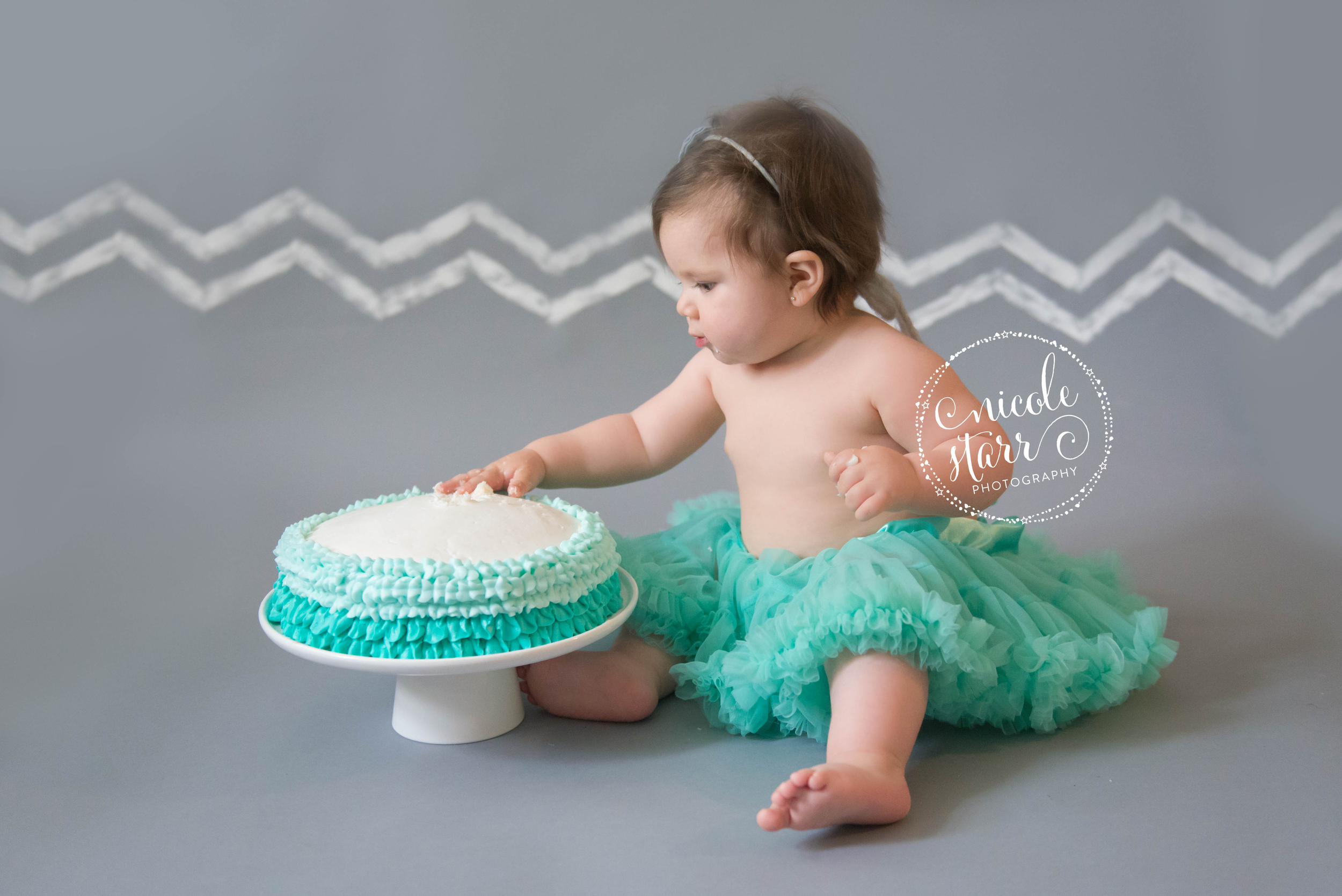 teal tutu and birthday cake