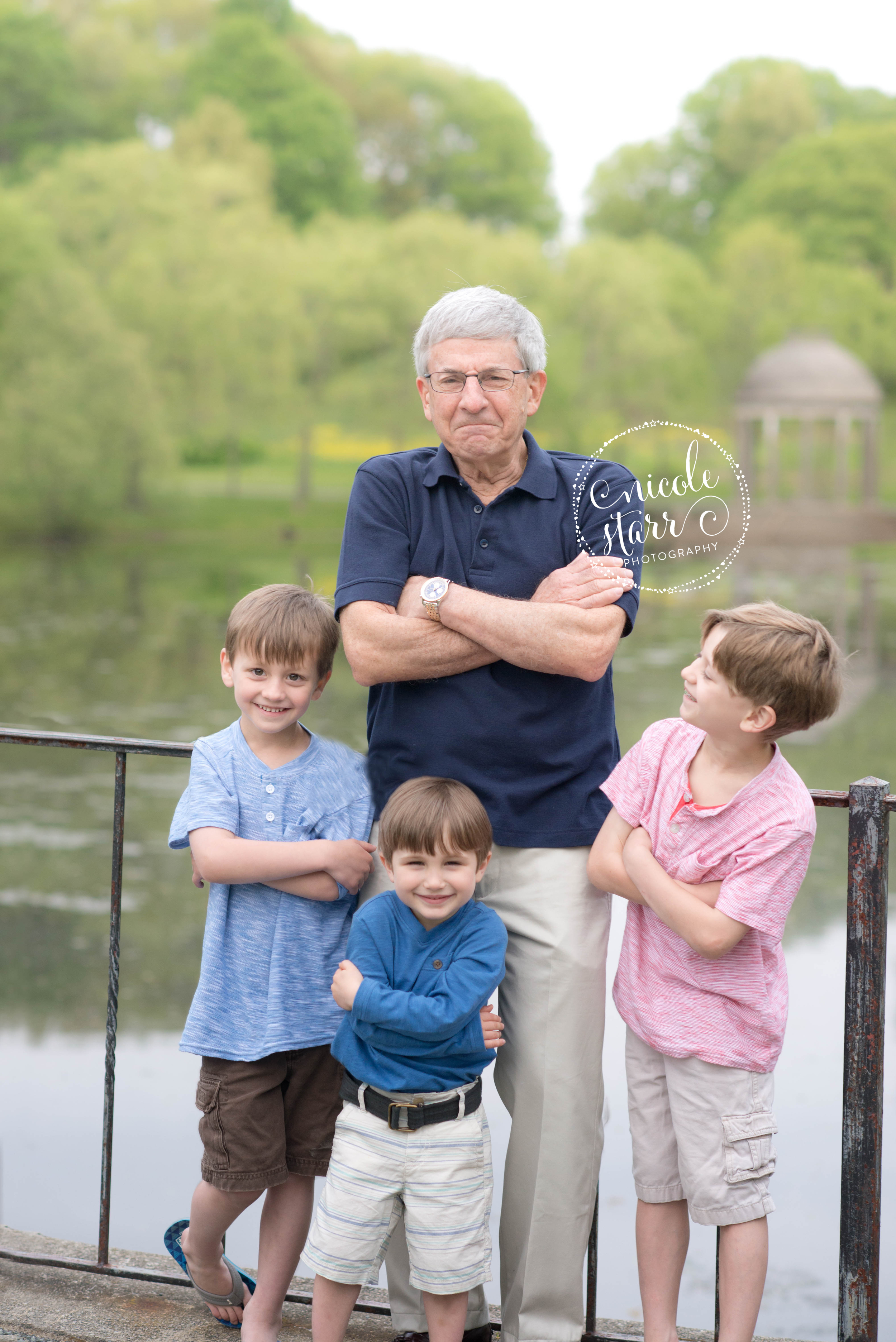grandpa and his grandsons funny portrait