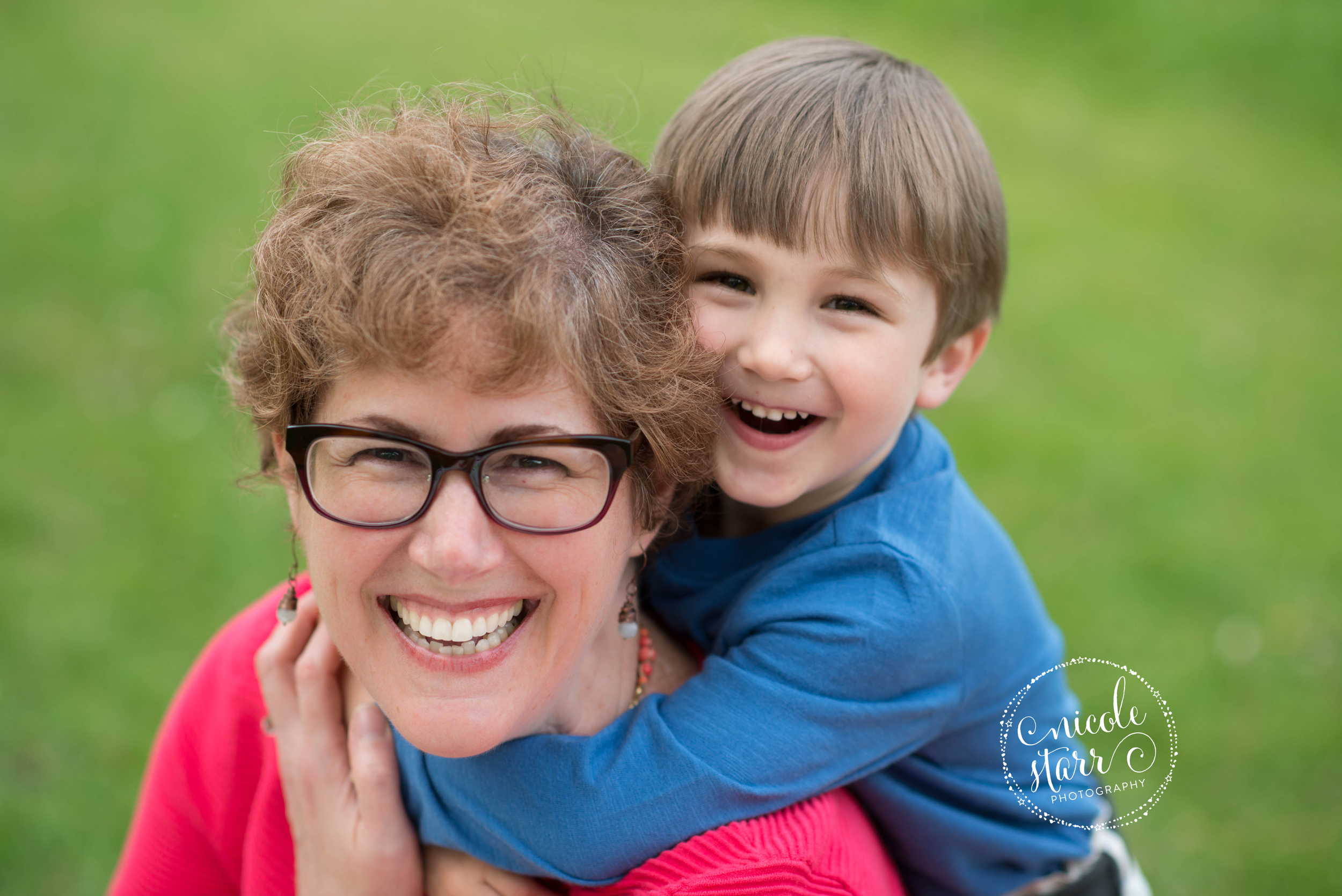 mom and son hugs at brookline park photo