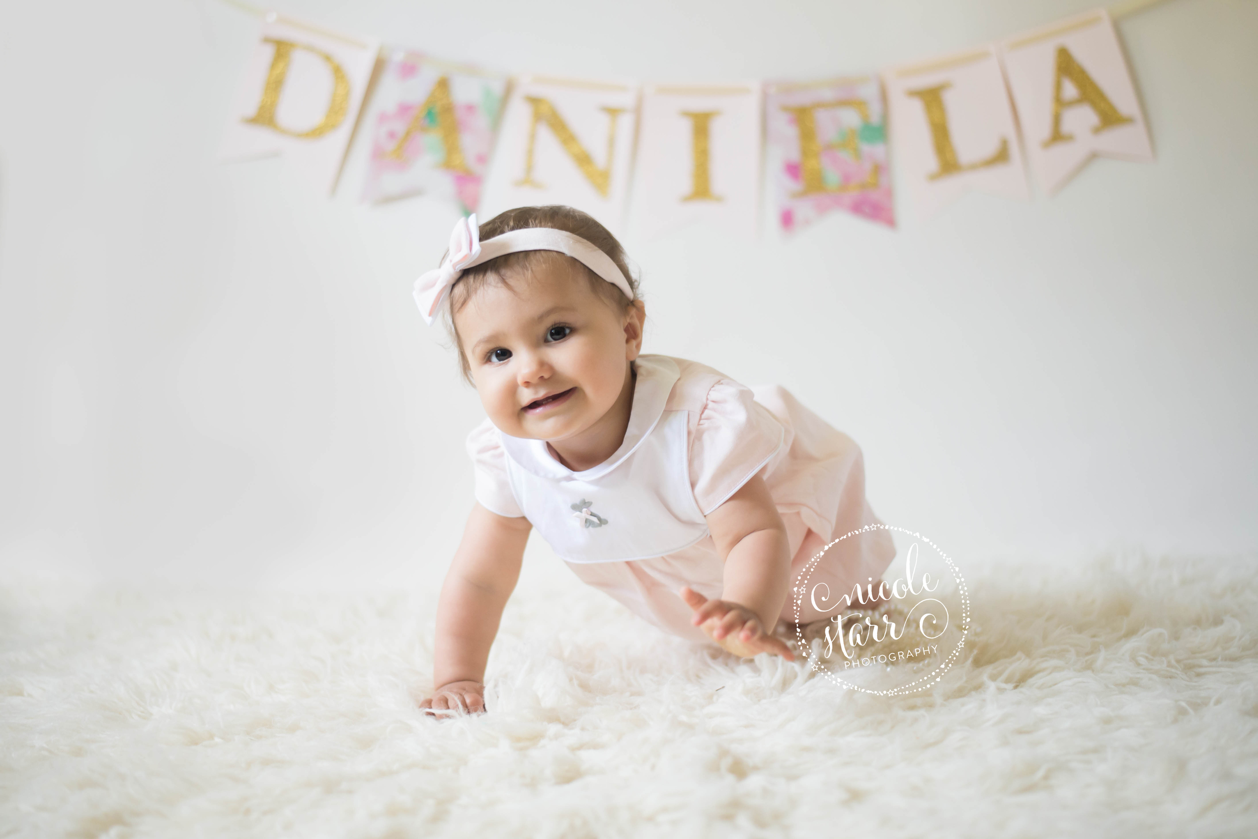 simple and classic baby photos and name banner
