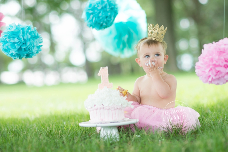 pink and teal cake smash baby birthday session boston_0009