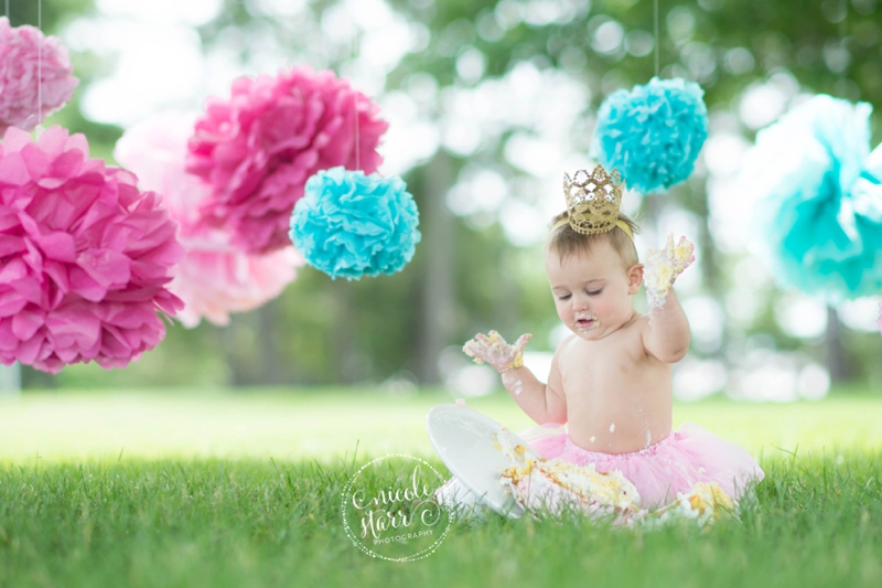 pink and teal cake smash baby birthday session boston_0017