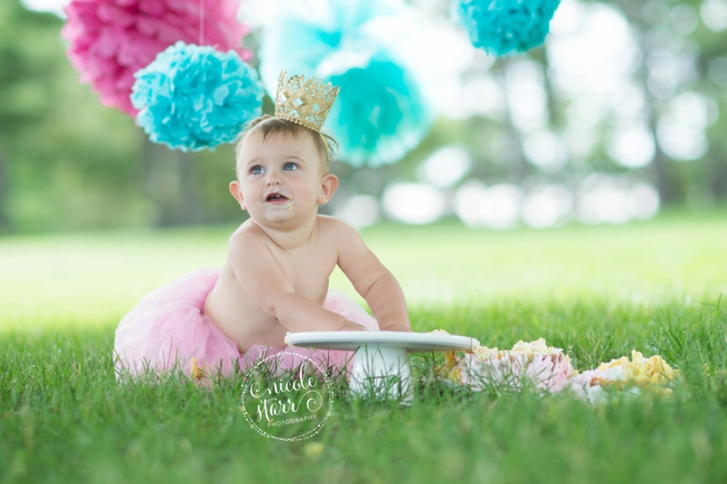 pink and teal cake smash baby birthday session boston_0018