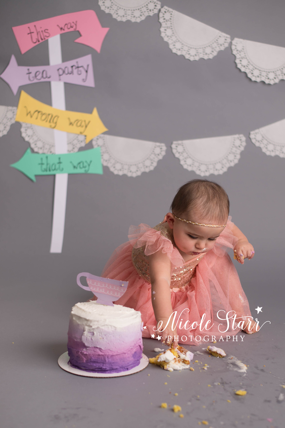 alice in wonderland cake smash with nicole starr photography, albany baby photographer