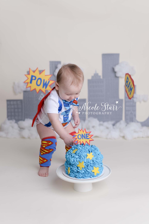 saratoga albany first birthday baby photographer superhero cake smash.jpg