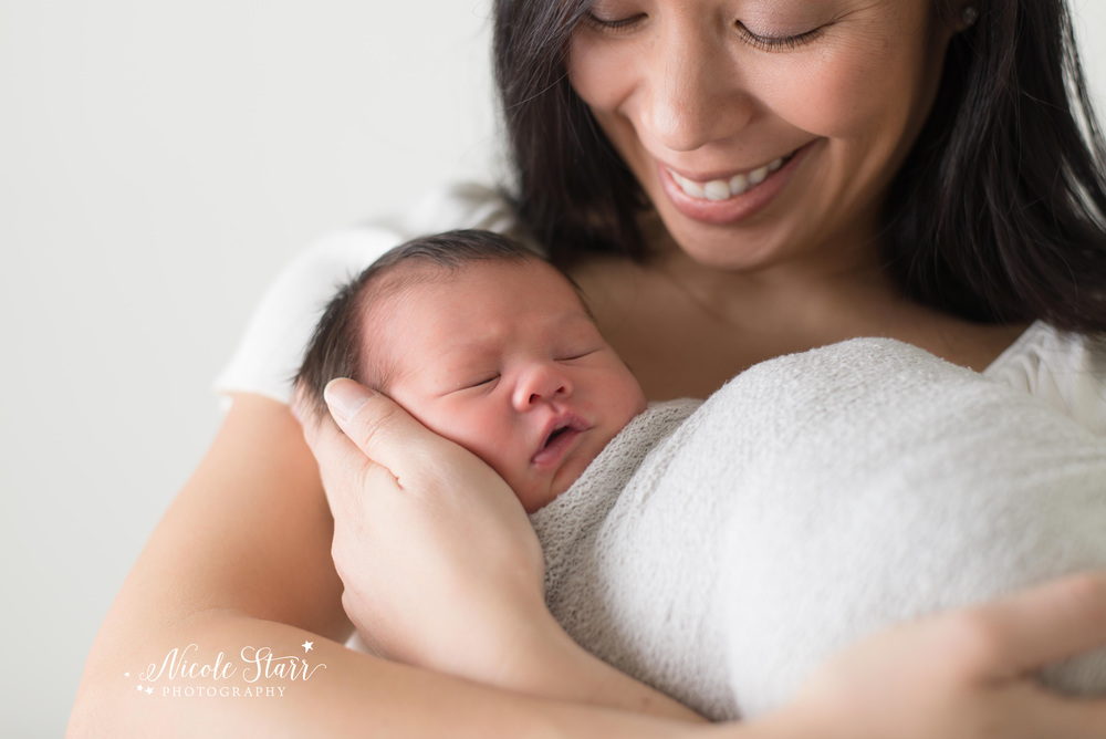 Intimate mother and baby image with Saratoga Springs and Albany newborn photographer