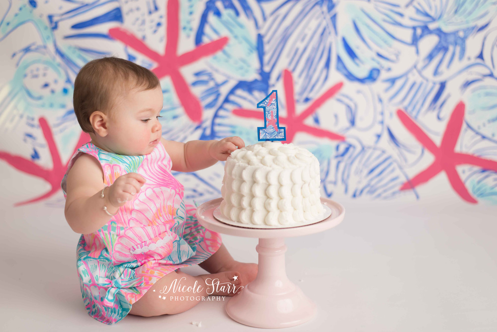 A Lilly Pulitzer First Birthday Cake Smash Saratoga Springs