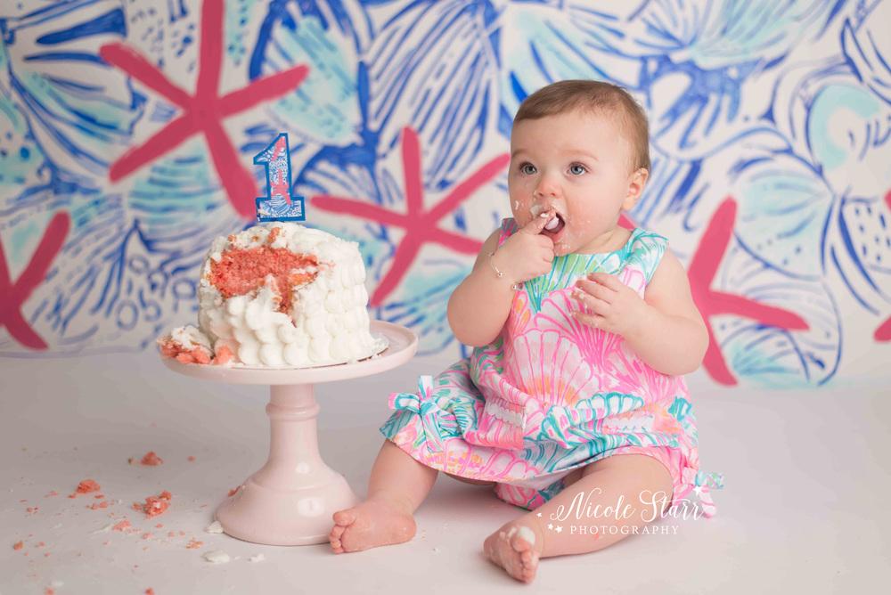 saratoga springs albany baby photographer lilly pulitzer cake smash.jpg