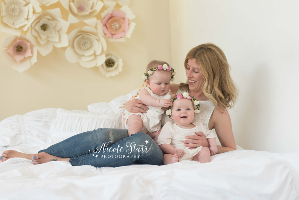 boston baby photographer mom and twins with floral crowns