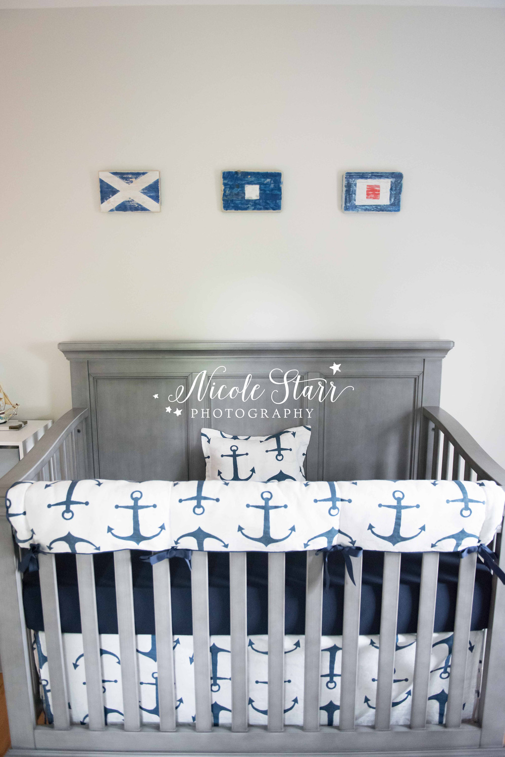 nautical nursery with flags