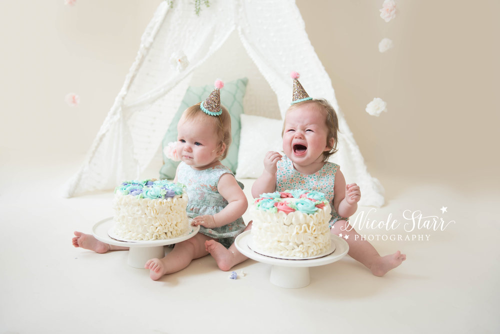 Boston and Saratoga Springs crying baby twins cake smash photo session