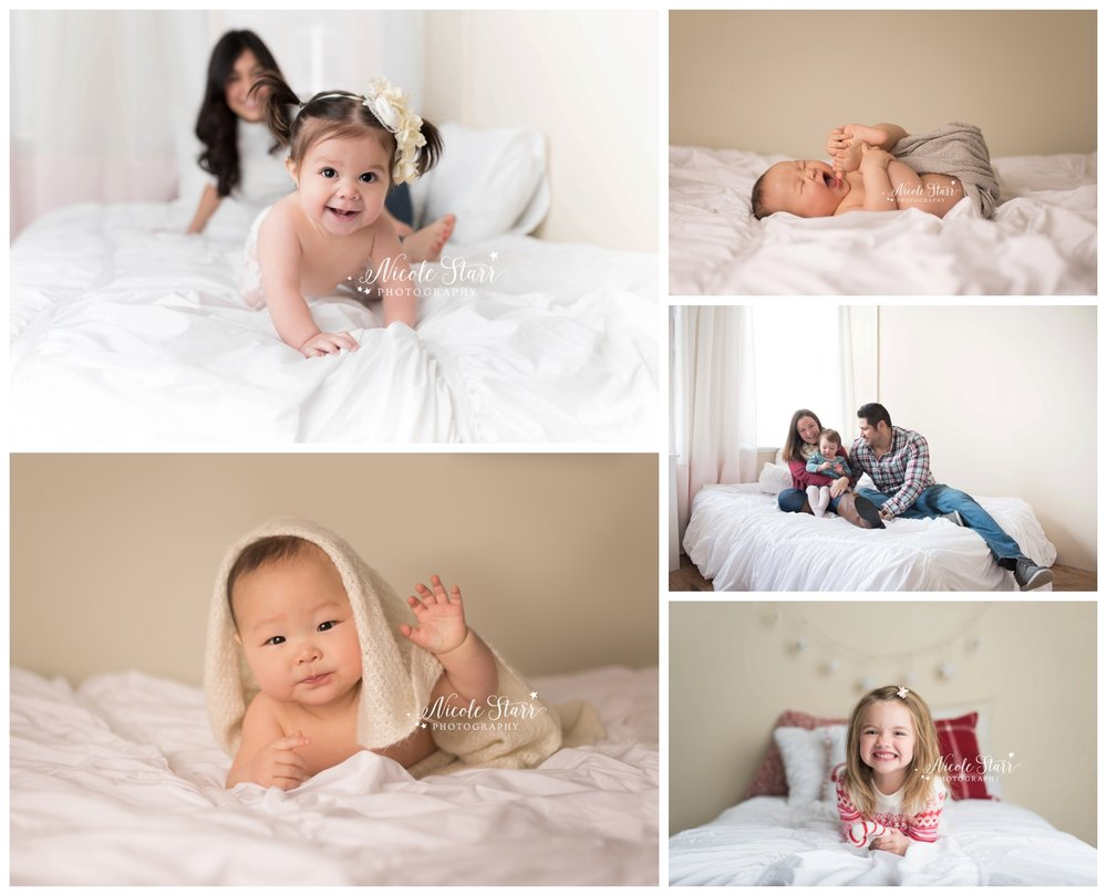 white bed in a baby photography studio prop