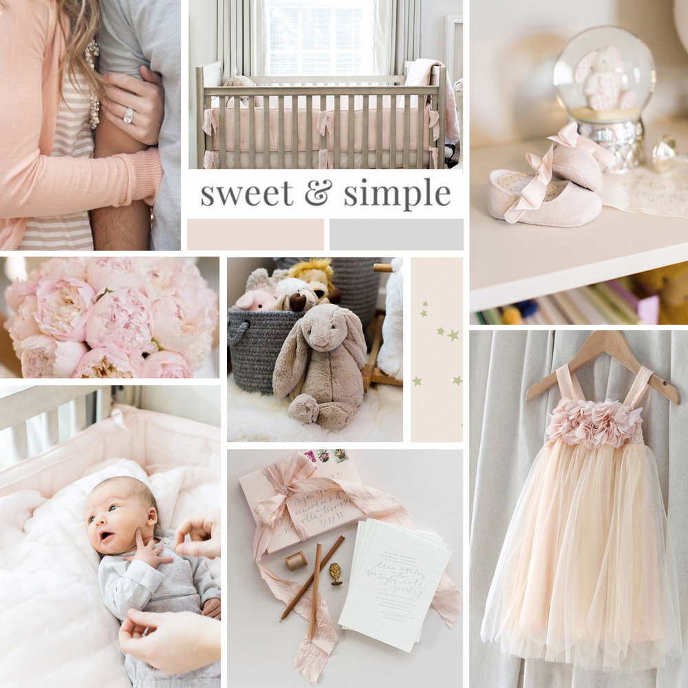 inspiration board for a whimsical and feminine brand, nicole starr photography designed by refinery original