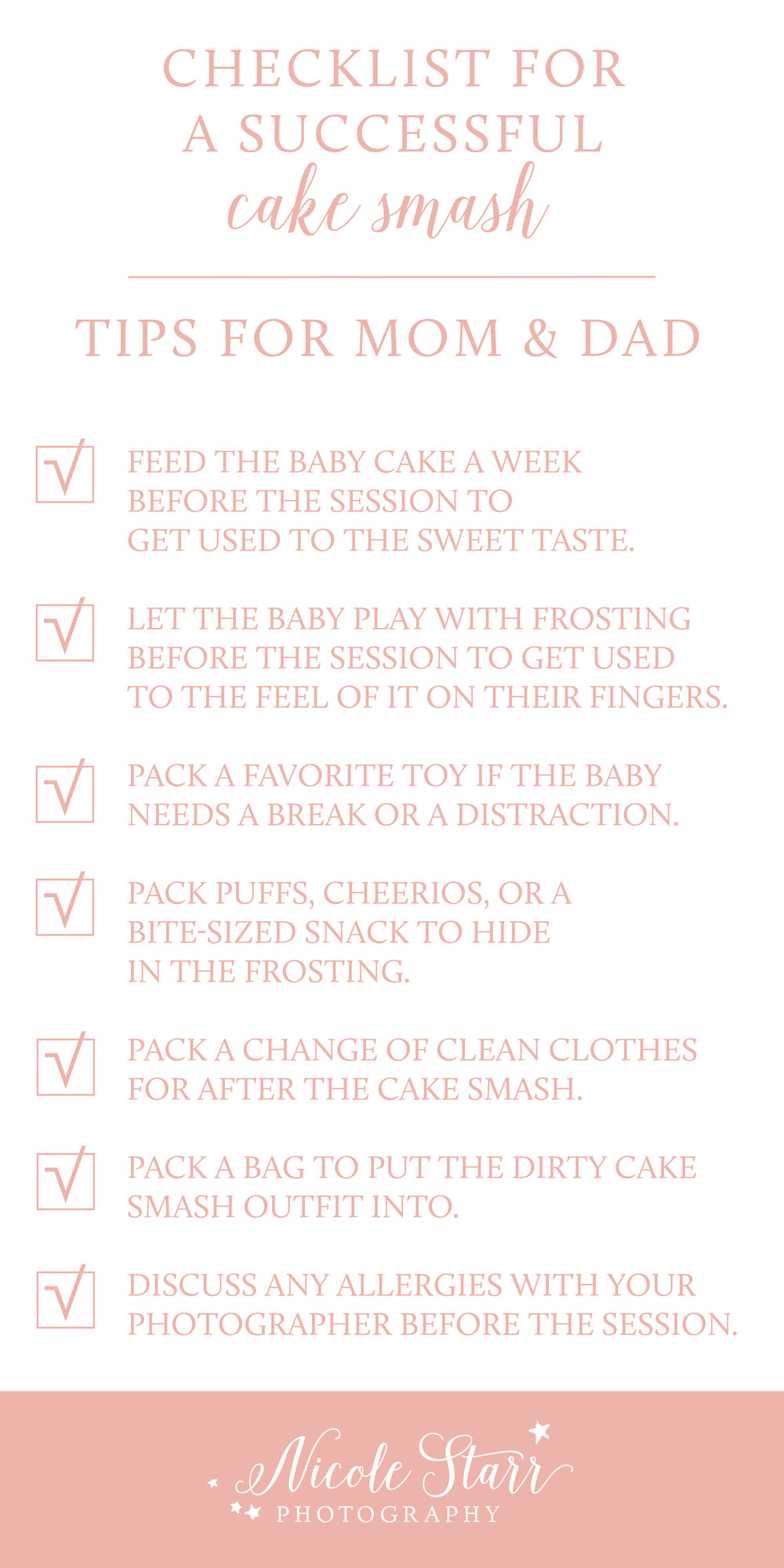 checklist for what to pack for your baby's cake smash photo shoot