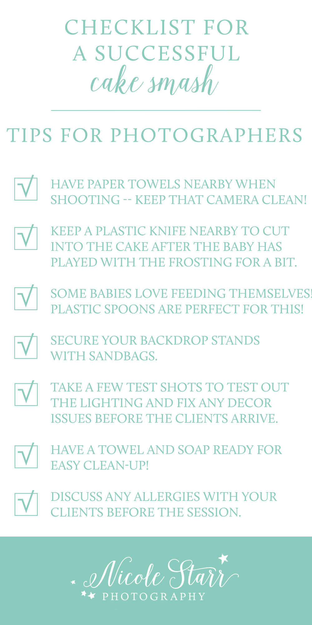 checklist for photographers to prepare for a cake smash photo shoot