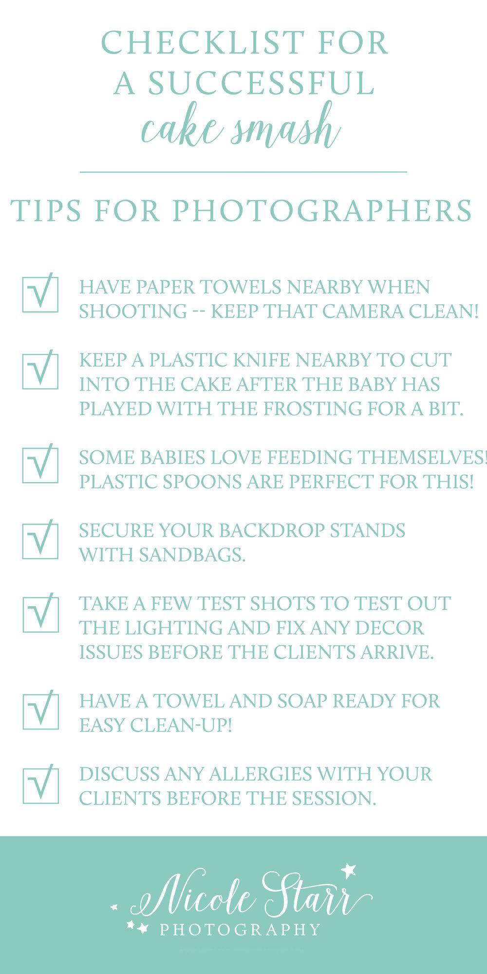 checklist for photographers to prepare for a cake smash photo shoot