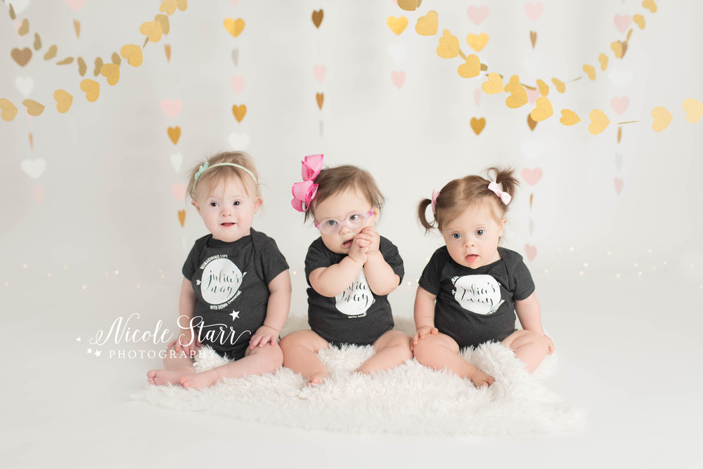 Cake Smash with three babies with Down syndrome.  Special needs photographer in Boston, MA.